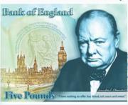 Уинстон Черчилль на новой купюре номиналом в 5 фунтов